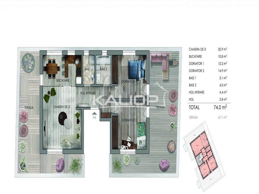 Penthouse 3 camere terasa 67 mp  imobil nou  Marasti zona Dorobantilor