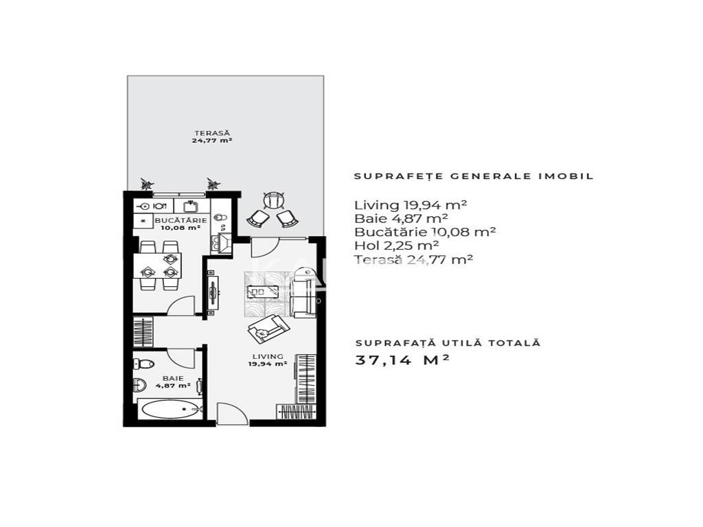 Apartament 1 camere, 37 mp + terasa 24,77 mp Gheorgheni