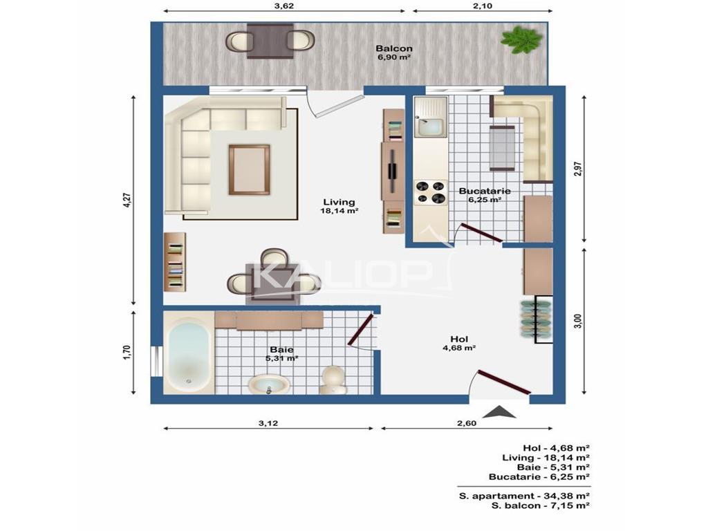 Apartament 1 camera cu garaj in cartierul Europa